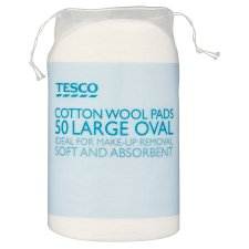 Tesco Large Oval Cotton Wool Pads 50