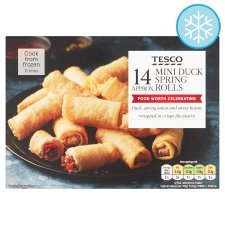 Tesco Frozen 14 Mini Duck Spring Rolls 252G