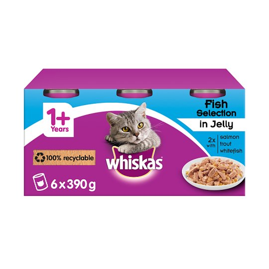 image 1 of Whiskas 1+ Cat Food Tins Fish in Jelly 6x390g