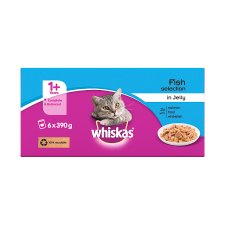 image 3 of Whiskas 1+ Cat Food Tins Fish in Jelly 6x390g