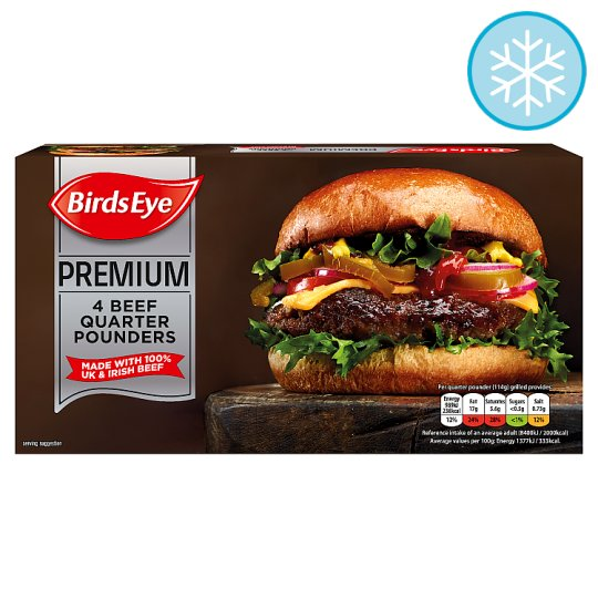 Birds Eye Premium 4 Beef Quarter Pounder Burgers 454G