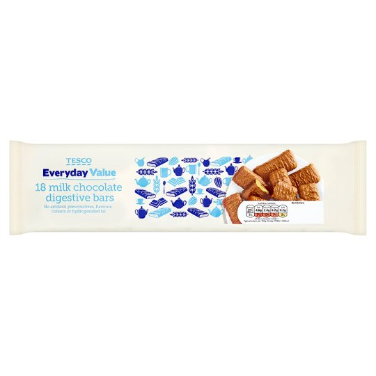 Tesco Everyday Value Chocolate Digestive Bars Biscuit 18 Pack