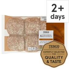 Tesco Wholemeal Batch Rolls 6 Pack