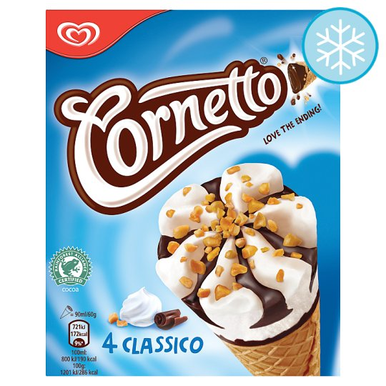 Cornetto Classico Ice Cream Cone 4 X 90Ml