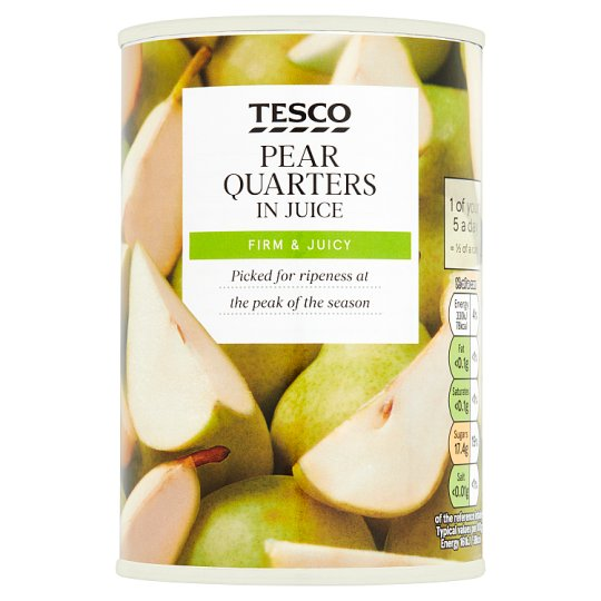 Tesco Quartered Pears In Juice 410G
