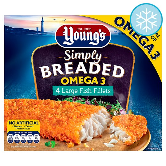 Youngs Breaded Omega 3 Large Fish Fillets 4 Pack 480G