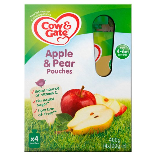 image 1 of Cow & Gate Fruit Pouch Apple And Pear 100G X 4