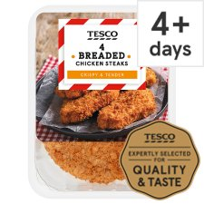 Tesco Breaded Chicken Steaks 4 Pack 505G