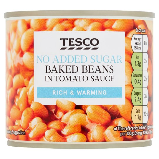 Tesco Baked Beans No Added Sugar 220G