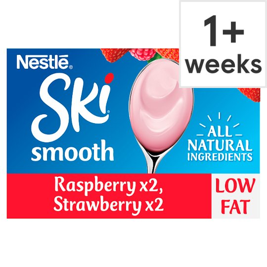 Ski Smooth Strawberry And Raspberry Yogurt 4 X120g