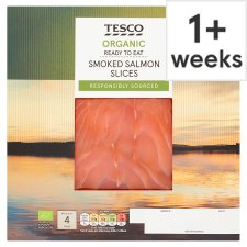 Tesco Organic Smoked Salmon Slices 120G
