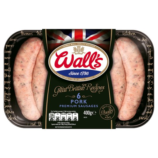 Wall's Great British Recipe 6 Thick Pork Sausages 400G