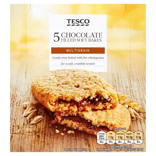 Tesco 5 Chocolate Filled Soft Bakes 250G