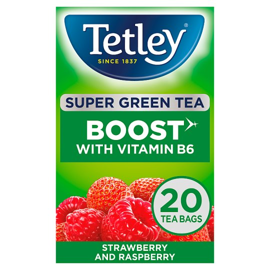 Tetley Super Green Boost Strawberry And Raspberry 20S 40G