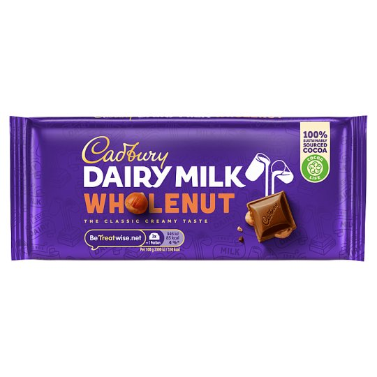 Cadbury Dairy Milk Whole Nut Chocolate Bar 120G