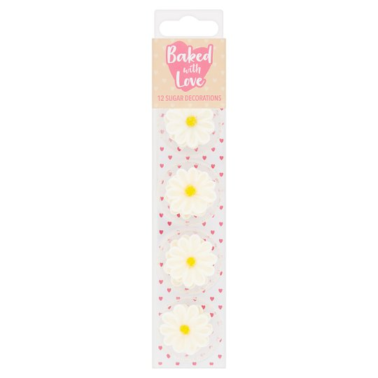 Baked With Love 12 Daisy Sugar Decorations