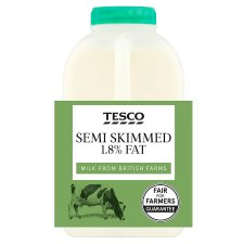Tesco British Semi Skimmed Milk 568 Ml, 1 Pint
