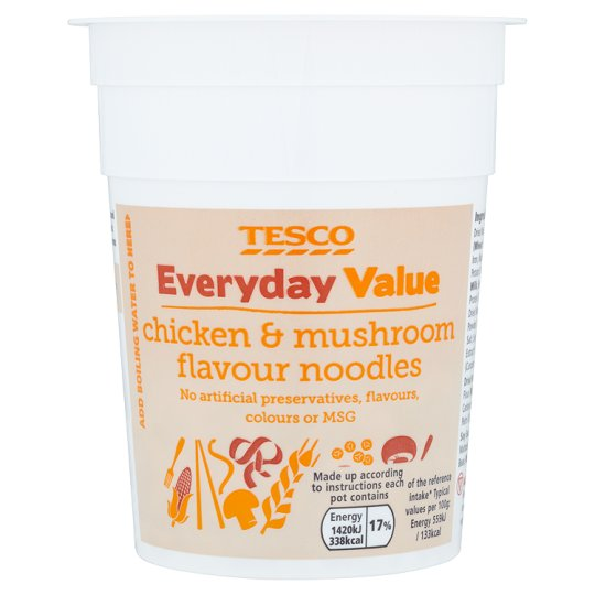 Tesco Everyday Value Noodles Chicken And Mushroom Flavoured 70G