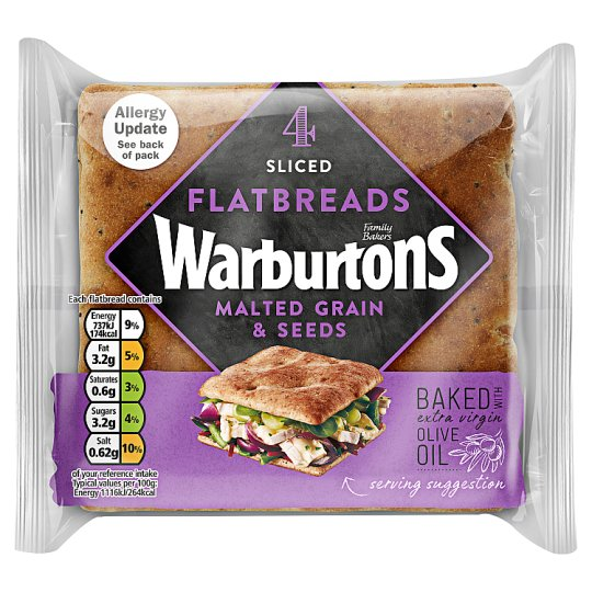 Warburtons 4 Malted Grain And Seeds Flatbreads