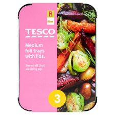 Tesco Oven Foil Medium Trays With Lids 3 Pack