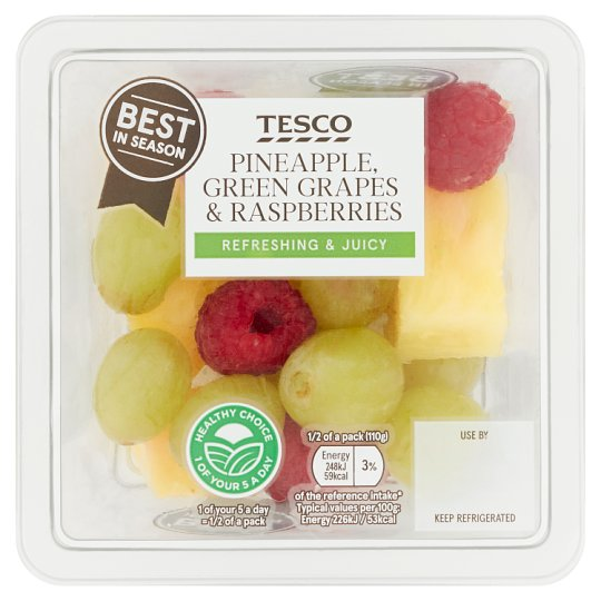 Tesco Seasonal Raspberry Grape And Pineapple 220G