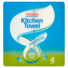 Tesco Kitchen Towel White 4 Roll