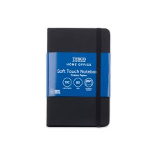 Tesco Soft Cover A6 Notebook Black 96 Sheets