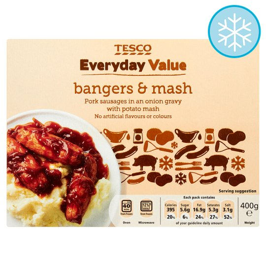 Tesco Everyday Value Bangers And Mash 400G - Groceries - Tesco ...