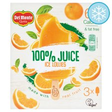 Del Monte 100% Juice Orange Ice Lollies 3 X 75Ml