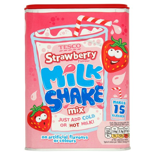 Tesco Strawberry Milkshake Mix 300G