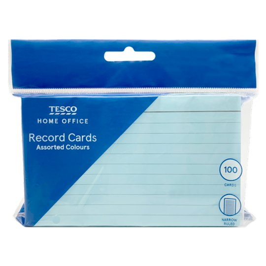 Tesco Record Cards Coloured Groceries Tesco Groceries