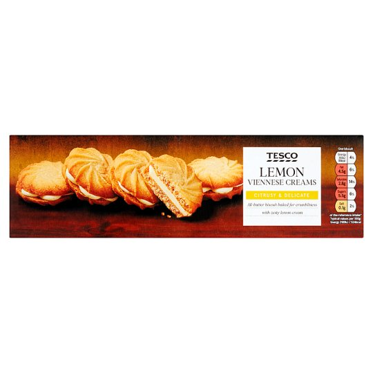 Tesco Lemon Viennese Creams Biscuits 125G