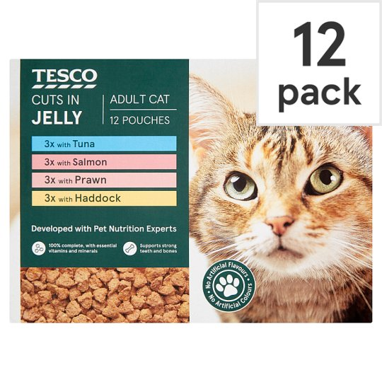 Tesco Cuts In Jelly Fish Selection Cat Food Pouches 12 X100g