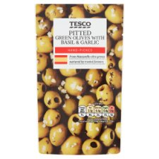 Tesco Pitted Green Olives Basil&Garlic 70G