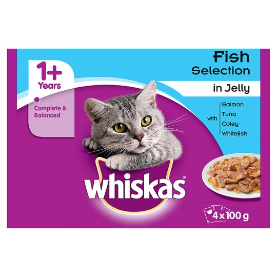 image 1 of Whiskas 1+ Cat Pouches In Jelly Fish Selection 4X100g