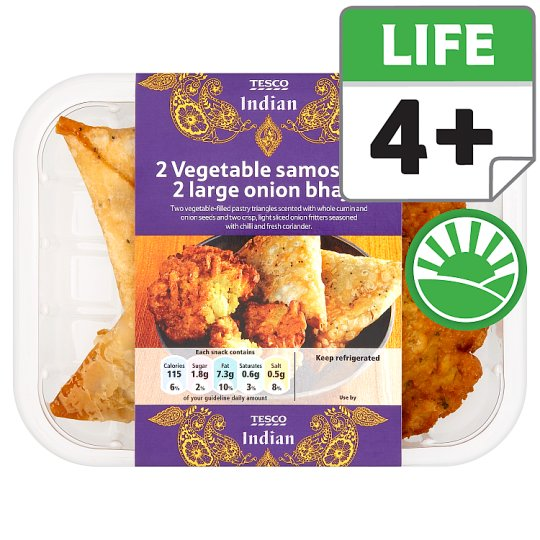 Tesco 2 Vegetable Samosa And 2 Large Onion Bhajis 206G