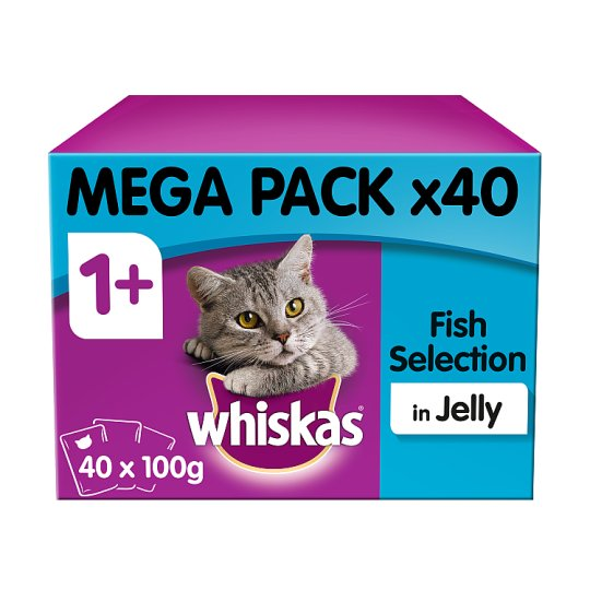 image 1 of Whiskas 1+ Cat Food Pouches Fish in Jelly 40x100g