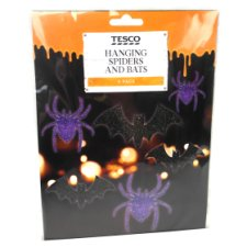 Tesco Hanging Spiders And Bats 6 Pack