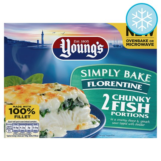 Youngs Simply Bake Florentine Fish 2 Portion 350G