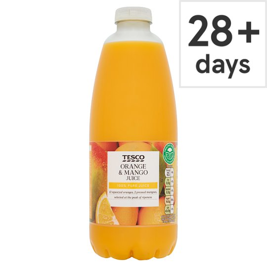 Tesco 100% Squeezed And Prsd Orng&Mango Not From Concentrate 1L