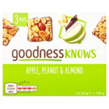 Goodnessknows Apple Peanut And Almond 3X34g Bar