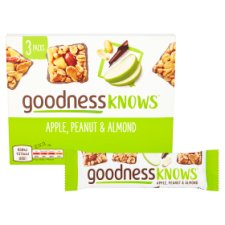 image 2 of Goodnessknows Apple Peanut And Almond 3X34g Bar