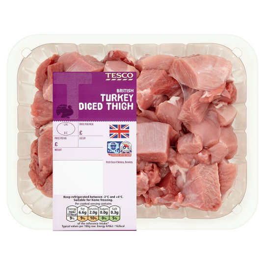 Tesco Diced Turkey Thigh 550G