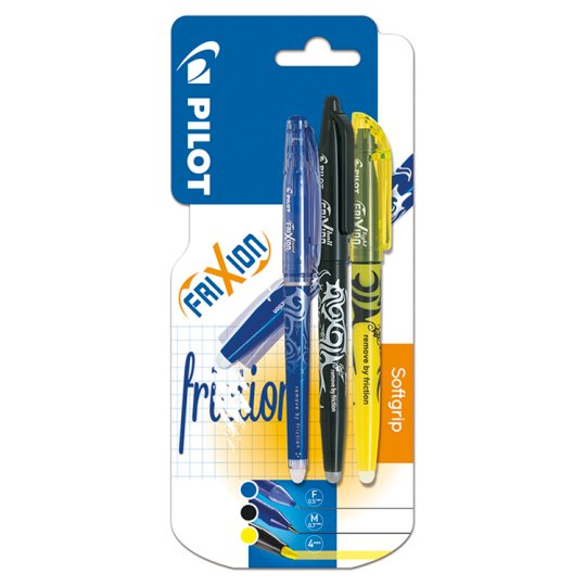 Pilot Frixion Black Blu Yellow 3 Pack