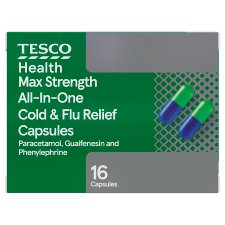 Tesco Max Strength All In One Cold And Flu 16 Capsule