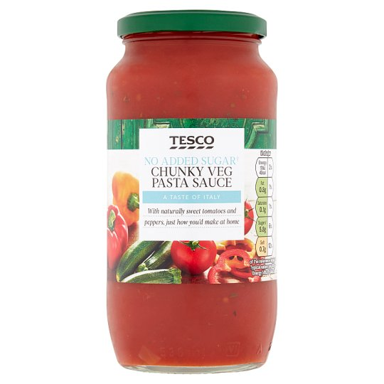 Tesco No Added Sugar Chunky Vegetable Pasta Sauce 500G