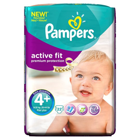 Pampers Active Fit Size 4+ Carry Pack 22 Nappies