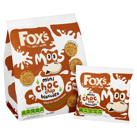 Fox's Mini Moos Chocolate Chip 150G 6 Pack