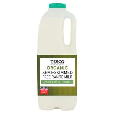 Tesco Organic British Semi Skimmed Milk 1.136L, 2 Pint