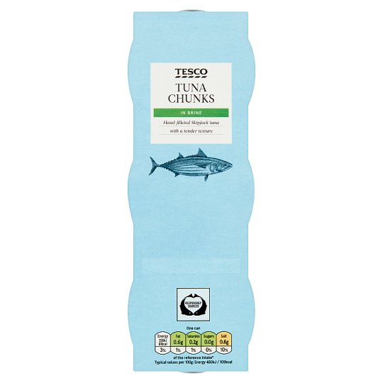 image 1 of Tesco Tuna Chunks In Brine 3 X 80G
